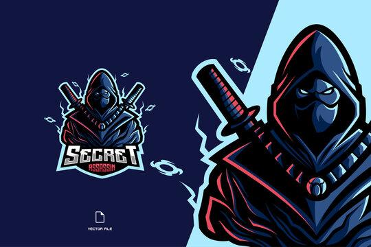 blue ninja assassin mascot logo character for esport game team illustration