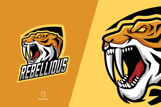 angry tiger head mascot character logo for esport game team illustration template