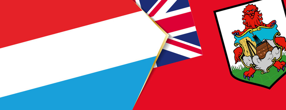 Luxembourg and Bermuda flags, two vector flags.