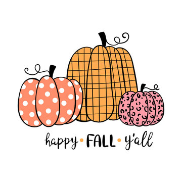 Draw pumpkin happy Fall Y'all For autumn and Halloween.