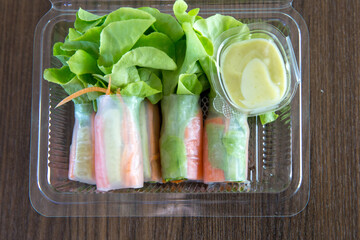 Thai Fresh Spring Rolls with Crab sticks and cream salad