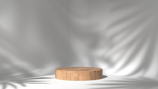 wooden podium showcase for product placement in white natural shadow leaves background