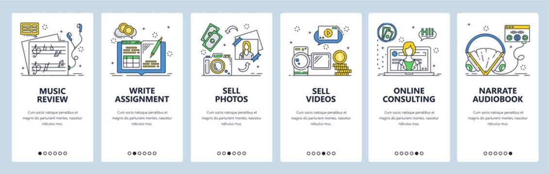 Freelance and remote online work. Mobile app onboarding screens, vector website banner template
