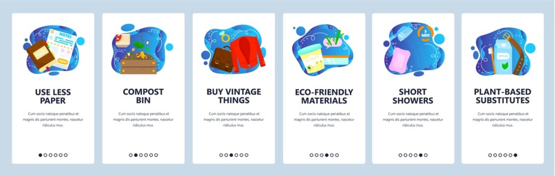 Eco lifestyle, environment protection, save nature. Mobile app onboarding screens, vector website banner template.