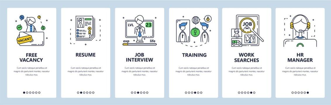 Job search, hiring, free vacancy, resume, job interview. Mobile app screens, vector website banner template