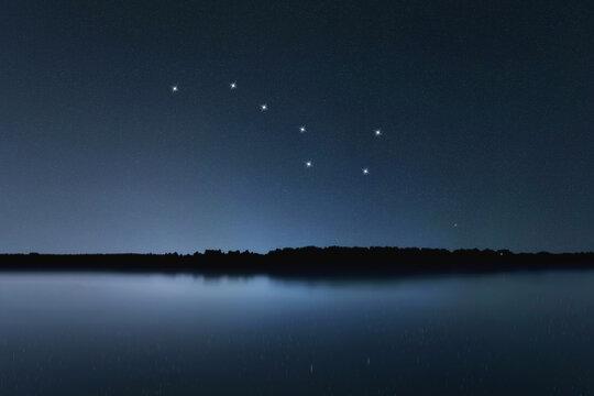 Big Dipper, Ursa Major star constellation, Night sky, Cluster of stars, Deep space