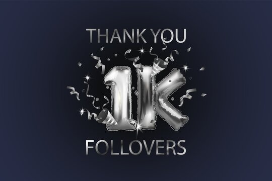 Thank you 1K or 1K subscribers. Vector illustration with silver shiny balls and confetti for friends on social networks, web users on a dark background. Thank you, celebrate subscribers, likes.