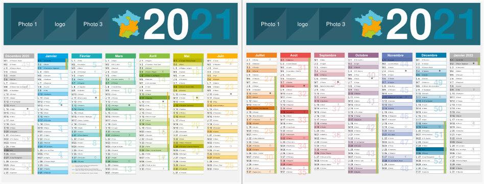 Calendrier 2021 14 mois avec vacances scolaires officielles au format 320 x 420 mm recto verso entièrement modifiable via calques et texte arial