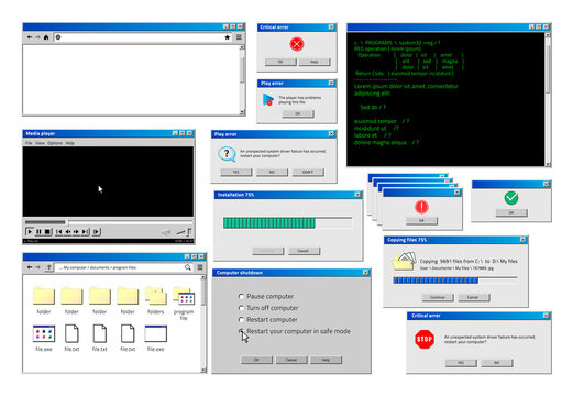 Computer window. Retro browser interface with popup error and warning windows, classic old software UI. Vector illustration website and loading windows set