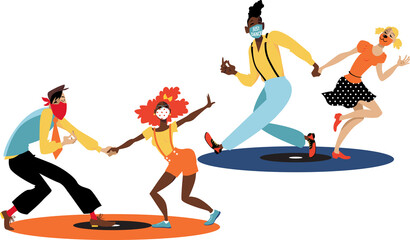 People dancing lindy hop or swing, wearing masks and maintaining physical distancing, standing on designated spots looking like vinyl records,  EPS 8 vector illustration