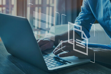 Obraz document management concept, online documentation database - fototapety do salonu