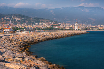 Lighthouse in Alanya, Antalya district, Turkey, Asia. Popular tourist destination. Long exposure picture, august 2020
