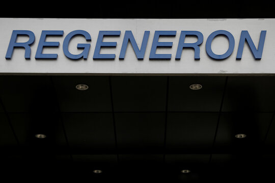 The Regeneron Pharmaceuticals company logo is seen on a building at the company's Westchester campus in Tarrytown, New York