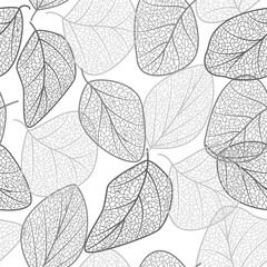 Seamless pattern with  leaves vein. Vector illustration.