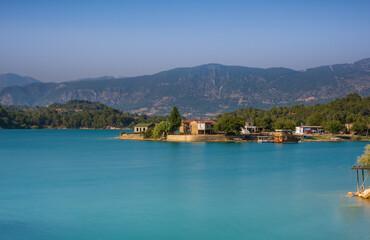 Green Lake in Green Canyon. Manavgat, Antalya, Turkey. Long exposure shot, july 2020