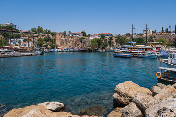 Old harbor in Kaleici, Antalya, Turkey - travel background. August 2020. Long exposure picture