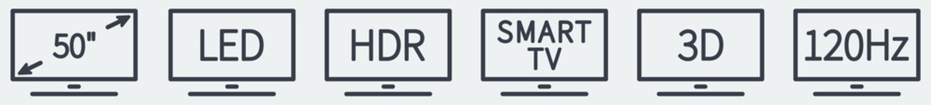 Set of simple TV technology icons, black text in stylised rectangle screen