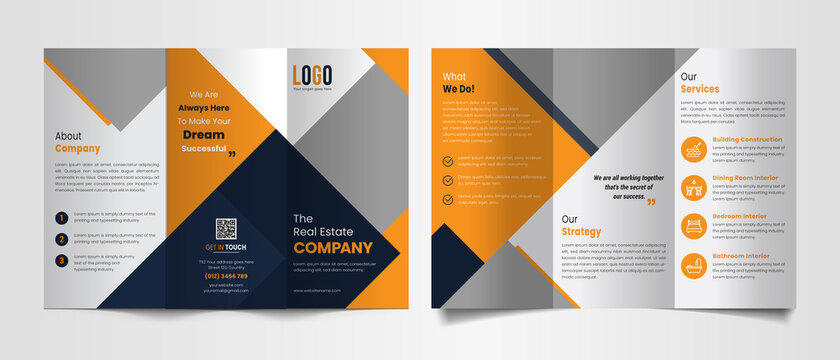 Modern trifold brochure template with black and yellow color shapes.