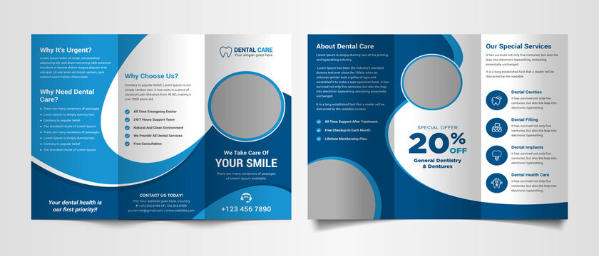 Corporate medical trifold brochure template
