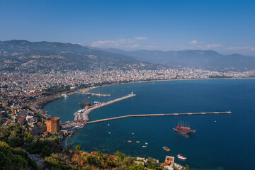 Panoramic view of the sea and the town Alanya, Turkey. August 2020