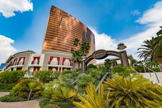 LAS VEGAS, NEVADA - JULY 12, 2017: Entrance to the Encore Casino a luxury resort located on the Las Vegas Strip.
