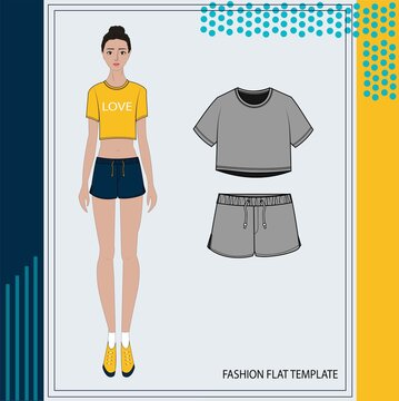 Illustration of women in casual outfit  , fashion flat sketch template