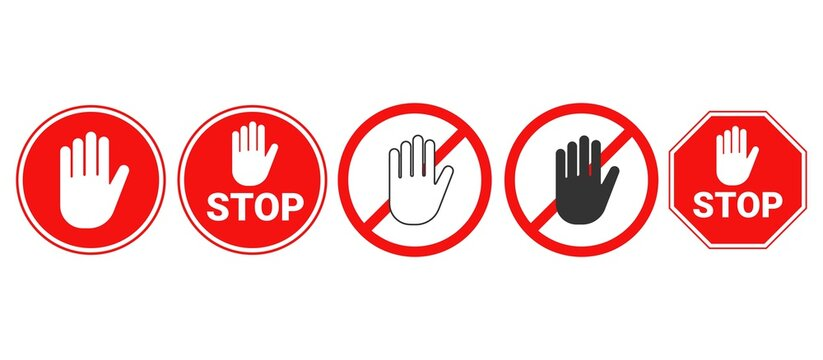 Hand forbidden vector sign. Stop hand icons set.