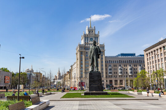 Russia, Moscow - may 19.2017: triumphal square and the monument to Vladimir Mayakovsky in the center of Moscow.