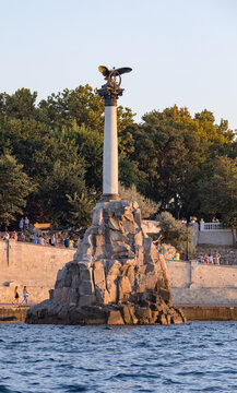 SEVASTOPOL, CRIMEA, RUSSIA - August 15, 2018: Monument to the Scuttled Ships in Sevastopol Bay. It was built in 1905 in honor of the 50th anniversary of the First Defense of Sevastopol in the War