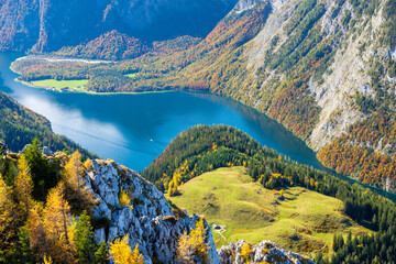 view on Königssee lake in Bavarian Alps in Berchtesgaden in Germany during fall