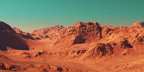Wall Murals Brick Mars landscape, 3d render of imaginary mars planet terrain, science fiction illustration.