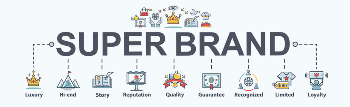 Super Brand banner web icon for business and product, story, luxury, quality, limited edition, high-end, guarantee, reputation and brand loyalty. Flat vector infographic.