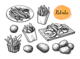 Door stickers Wall Decor With Your Own Photos Ink sketch of fried potatoes.