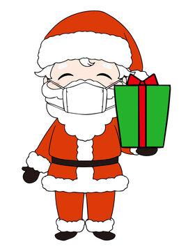 マスクをしているプレゼントの箱を持っているサンタクロース