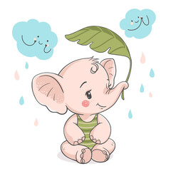 Lovely baby elephant with palm leaf, vector illustration.