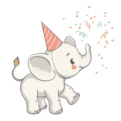 Vector illustration of a cute baby elephant at the party.