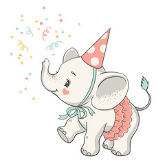 Vector illustration of a cute baby elephant in a pink skirt at the party