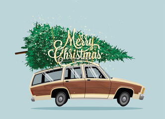 Classic vintage cartoon family car with Christmas Tree on the roof and Marry Christmas lettering. Christmas card or poster design template. Vector illustration