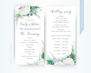 Wedding program card floral template set. Elegant stylish tender ivory white Rose flowers, asparagus fern leaves greenery bouquet frame & dusty blue watercolor paint splashes. Trendy & delicate design
