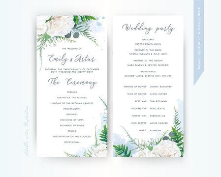Wedding program card floral template set. Elegant stylish tender ivory white Rose flowers, asparagus fern leaves greenery bouquet frame & dusty blue watercolor paint splashes. Trendy & delicate design