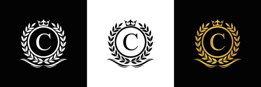 Golden Letter C laurel wreath template logo Luxury gold letter with crown. Monogram alphabet . Beautiful royal initials letter.