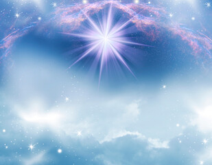 Wall Mural - abstract mystic magic angelic spiritual divine magic religious backgroud with stars, galaxy and clouds in gray blue and pink tonality