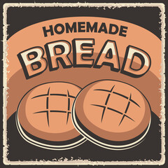 Homemade Bread Retro Vintage Classic Signage Poster