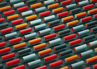 Abstract 3d render, composition, with orange, red, gree and lights blues colors. Geometric shapes.