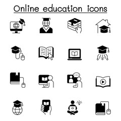 Online education icons set vector illustration graphic design
