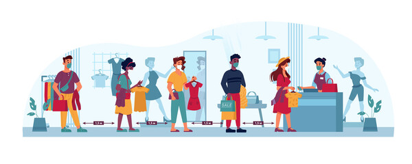 Clothing store queue, social distance, people line in masks to shop cashier, vector flat cartoon. Coronavirus Covid 19 epidemic social distance, men and women queue in shop or clothing trade center