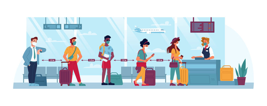 Airport, people in masks, travel and social distance, coronavirus safety vector cartoon flat. People at airport social distance line boarding to flight with luggage, covid 19 epidemic tourism
