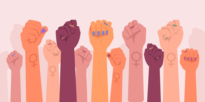Feminism fists, protest and revolution, feminists fight, vector cartoon flat hands. Feminism activists fist symbol of strength, equality and riot, woman rights union, female power and solidarity