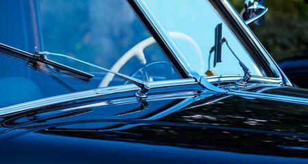 Fototapeta Retro car show. Black classic retro car. Vintage car fragment. Black GAZ 12 ZIM at the at the retro car show obraz