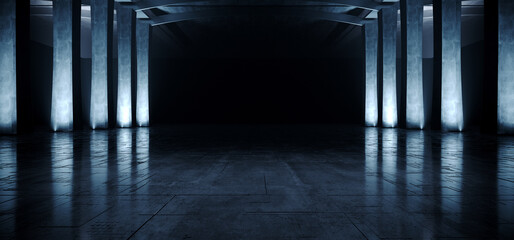 Industrial Large Dark Hangar Garage Spotlights Blue Glowing Empty Warehouse Tunnel Corridor Concrete Floor With Columns background Modern 3D Rendering